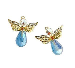 2 Gold 28mm Angel Faceted Teardrop Blue Crystal Rhinestone Bead Charms Pendants