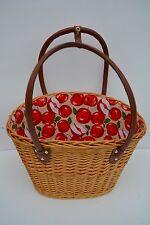 Einkaufskorb Korb Tragekorb Picknickkorb Rattan Weidenkorb Strandkorb Apfel rot