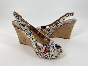 """Steve Madden """"Crazzy"""" Floral Cork Wedge Sandals Platform Women's 7.5"""