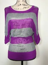 Takeout Sweater Open Knit Stripes Women's Top Size L Purple Gray Slouchy Sleeves