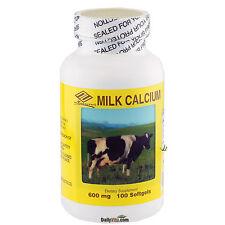 Liquid Milk Calcium Plus Vitamin-D 600 mg 100 Gels, 3 Months Supply, MADE IN USA
