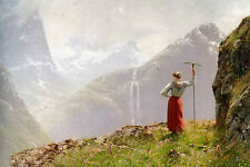 Oil painting Hans Dahl - Andreas Admiring The View girl on the mountains & fall