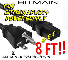 BITMAIN APW3++ PSU 220v 240v 8 FOOT HEAVY Power Cord Cable Antminer S9 L3+ T9