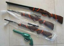 Lot 4 jouets bazar à cliquetis SL : 2 carabines à lunette, 1 fusil et 1 pistolet