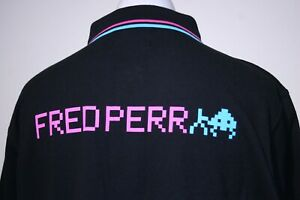 Fred Perry x Space Invaders Polo Shirt - XXL/2XL - Black - Rare Mod Gamer Top