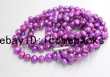 "3rows freshwater pearl purple  baroque necklace 19-21"" wholesale nature amazing"