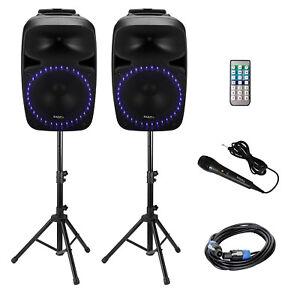 """Ibiza PKG15A-SET Aktive PA-Beschallungsanlage 1000W 2x 15"""" Lautsprecher MP3 DJ"""