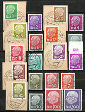 Germany / Saarland - 1957 Definitives Heuss - Mi. 380-99 VFU partly on piece
