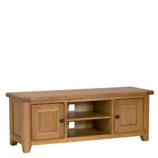 New Wide Chunky Rustic Oak 2 Door TV Unit Stand Cabinet *Furniture Store*