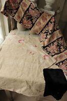 Vintage French fabrics antique material PROJECT BUNDLE printed linen + plaid