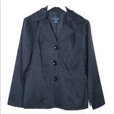 Cynthia Rowley Leopard Print Black Blazer Womens Size Medium