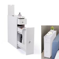 Slim Small Bathroom Storage Cupboard Thin Corner Cabinet Unit W/ 2 Drawers White