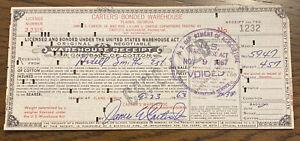 Jimmy Carter Signed Warehouse Receipt - Plains, Georgia - Vintge Autograph