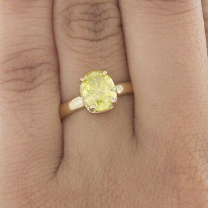 18K Gold Engagement Ring Oval Cut Diamond 2.00 Ct VS1 GIA Certified Fancy Yellow