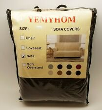 3 Seat Sofa Cover Dark Brown Non-Slip for Pets, Scratches, & Stains by Yemyhom