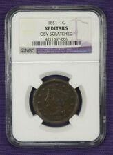 1851 Extra Fine XF EF details Braided Hair Large Cent NGC