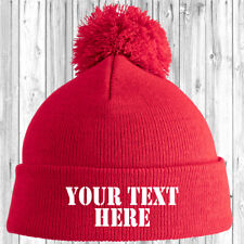 Personalised Junior Pom Pom Beanie Bobble Hat With Name Slogan Kids Childrens