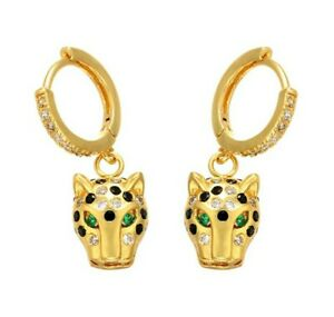 Gold And Rhinestone Panther Head Earrings High Quality Costume Jewellery