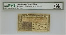 New Jersey Colonial Note March 25, 1776 15 Schillings Fr#Nj-180 Pmg 64 Cu