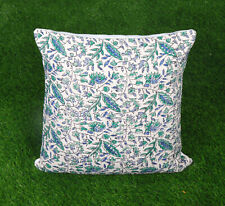 Dari Cushion Cover Handmade Cotton Green Floral Pillow Cover Home Decor Throw