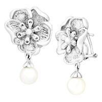 Freshwater Pearl Flower Drop Earrings in Sterling Silver