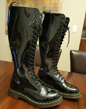 RARE Dr. Martens Knee Black Shine Leather Boots 12270 Size US 8L , UK 6, EU 39
