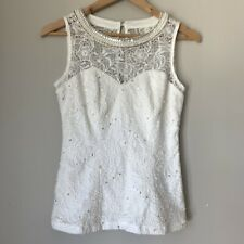 Review 8, Womens White  Lace Top, New Without Tags, Pearl & Diamonte Detail.