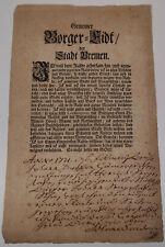 """""""Gemeiner Borger-Eidt"""" Bremen 1721, Bürgerbrief Bürgereid für Henrich Sengestake"""