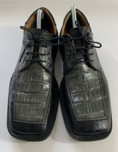 David Eden Crocodile Lizard Shoes Black Taupe Men Size 9