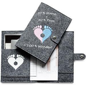 Mutterpasshülle aus Filz Platz für Ultraschallbilder, Karten und Dokumente etc.
