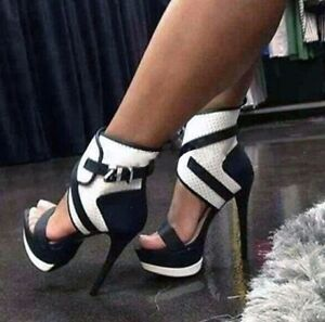 Women Peep Toe Platform Sandals Summer High Heel Shoes Ankle Buckle Caged Heeled