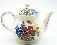 Sadler England Fine China Teapot Flowers Pink Blue & Orange Flowers