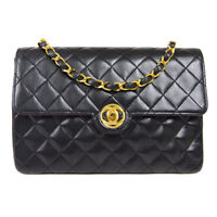 CHANEL Quilted CC Classic Flap Chain Shoulder Bag 0811681 Black Lambskin 60698