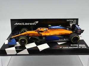 Minichamps 1:43 Lando Norris McLaren MCL35 Austrian GP F1 2020 1st podium resin