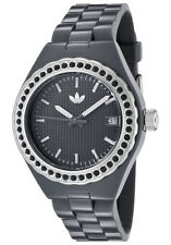 New Adidas Mini Cambridge Glitz Gray Rubber Date Women Watch 35mm ADH2090 $75