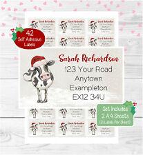Cow Personalised Christmas Address Labels, 42 Custom Farm Return Stickers