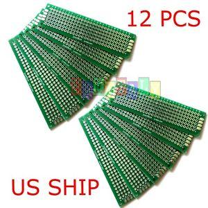 12pcs 2x8 cm Double Side DIY Prototype Circuit Breadboard PCB Universal Board(G)