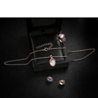 Fashion Women Elegance Crystal Rose Gold Necklace Ring Earring Jewelry Sets