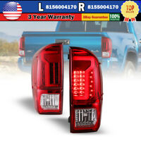 Chrome Red LED Turn Signals Brake Rear Lamps Taillights For 16-21 Toyota Tacoma