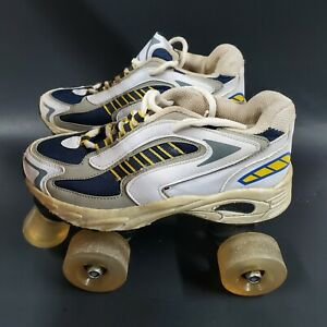 Youth Size 4 Roller Skates sneaker type Indoor Outdoor blue yellow white stopper