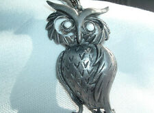 VINTAGE SILVERTONE CHAIN TEXTURED PEWTER OWL PENDANT NECKLACE IN GIFT BOX