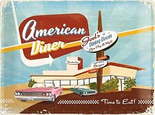 Nostalgic Art AMERICAN DINER TIME TO EAT STEAKS COCKTAILS SANDWICHES FUN *