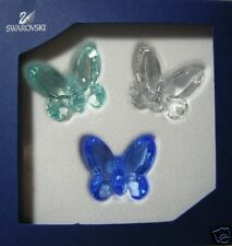 SWAROVSKI SILVER CRYSTAL BUTTERFLIES SET 3 BLUE 955429 MINT IN BOX TORN BOX