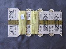 R379 Mercerie ancienne carte fil 2 bobines LAINE SAINT PIERRE jaune Lyon Paris
