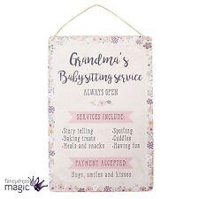 Rustique Shabby Grandmas Babysitting Service Tenture Murale Signe Plaque Chic