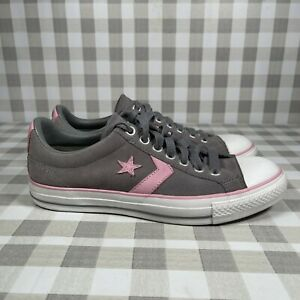 Converse All Star Women's Size 10 Suede Low Top Sneakers Shoes Gray/Pink