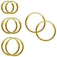 2 Creolen Creole 18 Karat vergoldet Ohrringe echt Gold versch. Größen 8 10 12 14