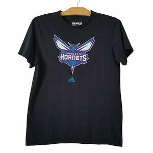 Adidas Charlotte Hornets T-Shirt Size M Black NBA Basketball Cotton