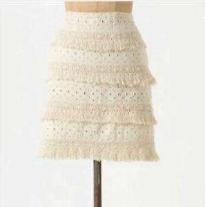 ANTHROPOLOGIE Skirt Sz 14 HD In Paris Tiered Fringe Eyelet Lace Ivory A Line