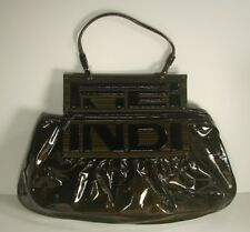 Authentic Fendi Women's Tobacco Patent Leather TO YOU Handbag Clutch 8BN179